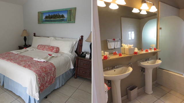 A look at our king-size bed (left) and bathroom (right) adorned with some flowers for our honeymoon.