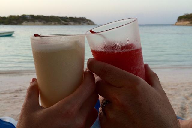 Cheers to our honeymoon! Lounging on the main beach as dusk approaches.